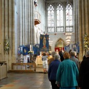 DIocesan banner being returned