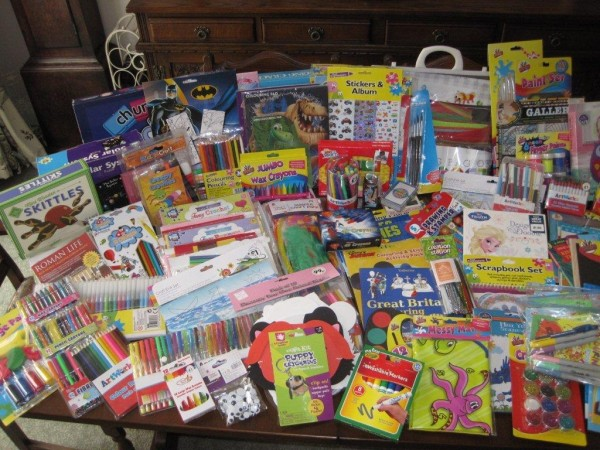 Photo of craft items donated for children at the Women's Refuge